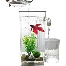 SODIAL LED Mini Tanque de peces Acuario auto limpieza Cuenco del tanque de peces Comodo acuario