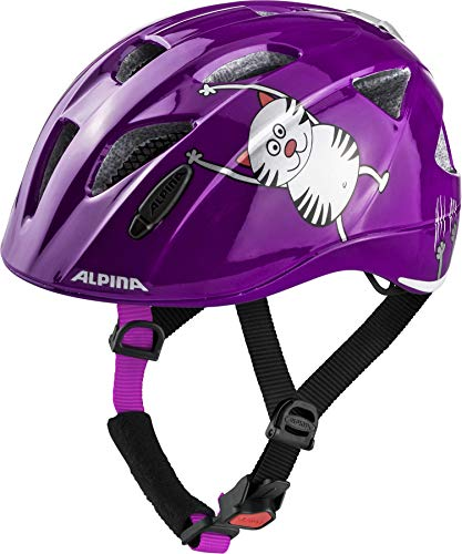Alpina Mädchen XIMO Flash Fahrradhelm, Purple cat, 47-51 cm