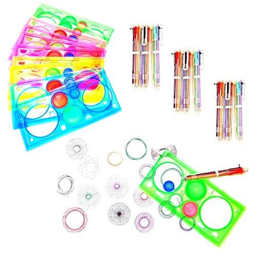 JZK Set 10 spirografo per Bambini Mandala + 10 Penne Colorate a Sfera per Giocattolo Regalo Bambini bomboniera Pensiero Festa Compleanno Bambina Bambino regalino Ragazzi