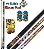 Buffalo Stecca Biliardo Pool-Carambola (15 Palle) Poker, smontabile 2 Pezzi, Lunghezza cm.145, Cuoio m.13. Grafica Ispirata al Poker. Dotazione ricambi e Accessori