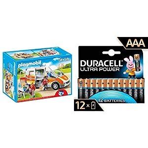 PLAYMOBIL - Ambulancia con Luces y Sonido (66850) con Duracell - Ultra AAA con Powerchek, Pilas Alcalinas (Paquete de 12) 1.5 Voltios LR03 MN2400