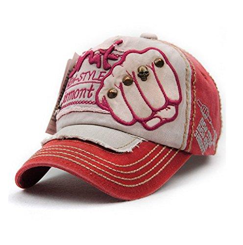 Dairyshop Modo Unisexe Versare Hommes Femmes Réglable Casquette Baseball Hip Hop Cappello (rouge) rouge