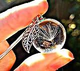 Collar de diente de león dije de hoja antigua Cadena de plata esterlina Caja de regalo - Hoja colgante Regalo a medida joyas únicas para mujeres