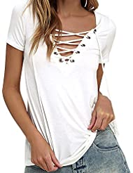Mujer Vendaje V-cuello Elegante Manga Corta Blusa Casual Camiseta Blanco S
