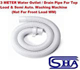 #10: SHA™️ 3 METER UNIVERSAL FLEXIBLE PLASTIC WASTE WATER OUTLET PIPE HOSE / DRAIN PIPE / EXTENSION PIPE / DISCHARGE PIPE For ALL Top Load / Loading Fully Automatic & Semi Automatic Washing Machine Suitable For All Brands ( LG, Samsung, Godrej, Whirlpool, Videocon, Onida, Intex, Bosch, IFB, Panasonic & Other Brands ) (Length: 3 Meter)