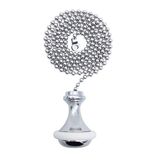 Seaside Ceramic (Kordel Pull/SFTlite Rollo Pull – Licht Pull Kette Verlängerung mit Zugschnur Ball Kette 85 cm Bad WC Licht/Griff Messing Cord Gewicht Pull Chrom - Rubber Ring)