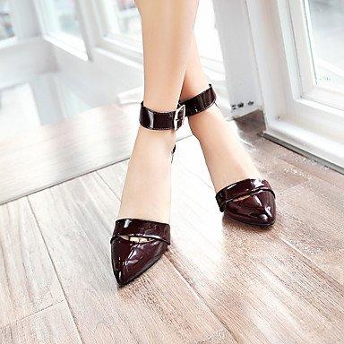 LvYuan sandali scarpe caduta del club primavera estate ufficio di nozze in vernice cinturino alla caviglia comodità&partito Red