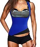 Damen Hot Schweiß Weste Neopren Sport Body Shaper Korsett Sauna-Anzug Waist Taille Cincher (S(Fit 24.4-28.3 Inch Waist), Blue(3-5 Days Delivery))