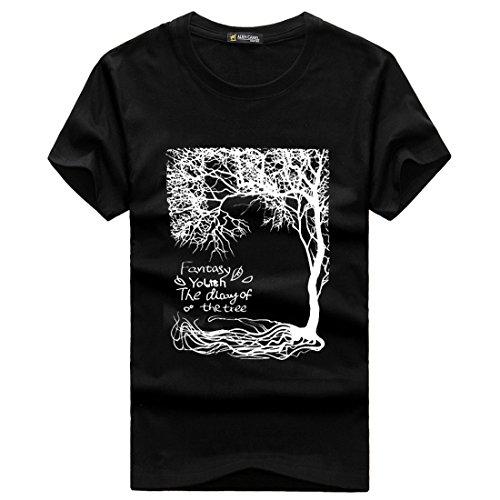 Men's Short Sleeve O-Neck Slim Fashion Hombre Tee Shirt Black