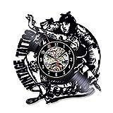 ACYKM Horloge Murale colorée en Vinyle 12 Pouces Mur Tatouage Studio Horloge Montre Moderne Design Tattoo Machine Shop Vinyles Disques Horloges Murales Horloge Décor Cadeaux pour Hommes