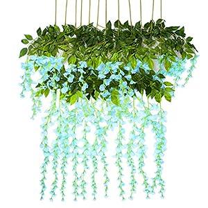 Vidillo Flores Artificiales Plantas 12 Piezas 110 cm Wisteria Artificial para Colgar de Seda para Comedor salón decoración de Boda Fiesta hogar jardín decoración simulación Flor (Azul)