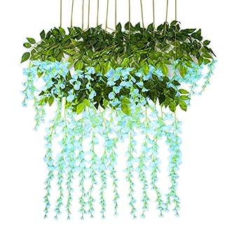 Vidillo Flores Artificiales Plantas 12 Piezas 110 cm Wisteria Artificial para Colgar de Seda para Comedor salón decoración de Boda Fiesta hogar jardín decoración simulación Flor