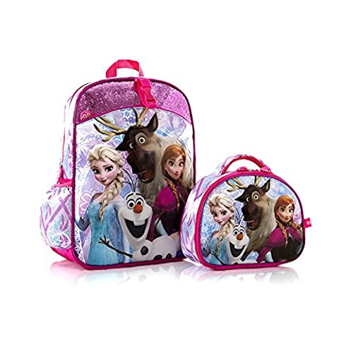 Disney Frozen Anna Elsa Olaf Svan Deluxe Classic Designed Kids Gorgeous School Backpack with Detachable Lunch Bag 15