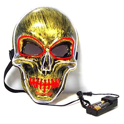 Kostüm Skull Red Maske - FUVOYA Halloween Maske LED leuchten Schädel Maske Horror Thriller leuchtende Maske Halloween Karneval