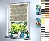 Doppelrollo nach Maß, hochqualitative Wertarbeit, alle Größen und 18 Farben verfügbar, inkl. Seitenführung, Rollo nach Maß, Duo Rollo, für Fenster und Türen, Klemmfix ohne Bohren (120cm Höhe x 85cm Breite / Light Brown)