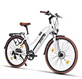 Fitifito CT28 Zoll Elektrofahrrad Citybike E-Bike Pedelec, 36V 250W Heckmotor, 16Ah 576Wh LG Cells Lithium-Ionen USB 7 Gang Shimano Schaltung (Weiss)