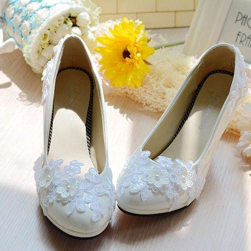 JINGXINSTORE Scarpe di pizzo bianco perla Piattaforma di tacco alto da sposa bianca