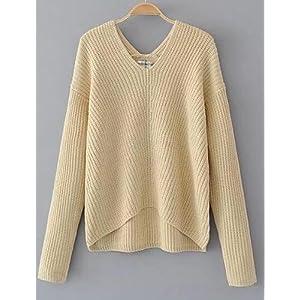 BaiChunYunYi Damen Standard Pullover-Ausgehen Lässig/Alltäglich Street Schick Solide V-Ausschnitt Langarm Baumwolle Elasthan Herbst Mittel