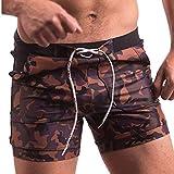 EUCoo Herren Shorts Boxerhose Tarnen Eng Anliegende Taschen-Badehosen(Brown, XL)