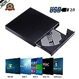 Ammiy® USB Lettore, masterizzatore esterno CD ± RW DVD-ROM per pc netbook e laptop, Mac, sottile, colore nero