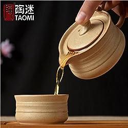 GENERIC White : Trip ceramic tea pot cup ceramic kung fu Tea set A person Travel Set retro Stoneware tea cup Japanese style ceramic teapot