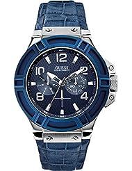 Guess Herren-Armbanduhr Analog Quarz Leder W0040G7