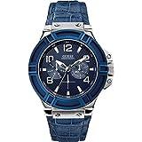 Guess W0040G7 - Reloj con correa de piel para hombre, color negro / azul