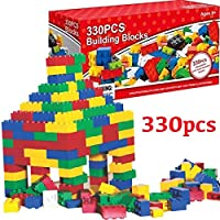 GLOW Pack of 330pc Building Blocks - Super Value Set of Assorted Bright and Colourful DIY Toy Creative Bricks for Kids Children Toddler Play Game Build Educational Major Brand Compatible Xmas Gift