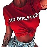 UFACE 2018 Reine KurzäRmeliges Rundhals-T-Shirt mit Briefumschlag Damen Tops Bad Girls Club Wort Druck Lose Bluse T-Shirt Sleepwear SchließT Kurzen Sommer (XL, Rot)