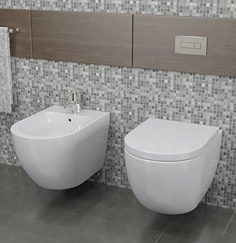 vorich Coppia di Sanitari Sospesi Wc e Bidet In Ceramica 36x55x33 Cm Vortix Bianco
