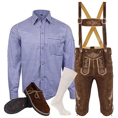 Speed4allkinds Herren Trachten Lederhose Größe 46-62 Trachten Set,Hemd,Schuhe,Socken Neu (Hose 54 Hemd XL Schuhe Socken Per Mail)