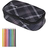 2 Teile SET: HERLITZ BEBAG Mäppchen BEAT BOX XL Etuibox + 12er Pack Buntstifte (Black Checked 51)