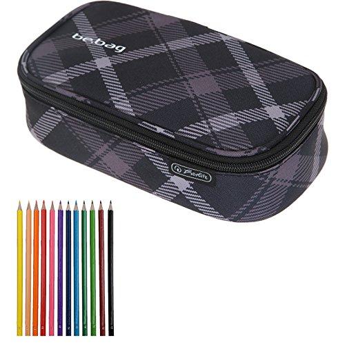Preisvergleich Produktbild 2 Teile SET: HERLITZ BEBAG Mäppchen BEAT BOX XL Etuibox + 12er Pack Buntstifte (Black Checked 51)