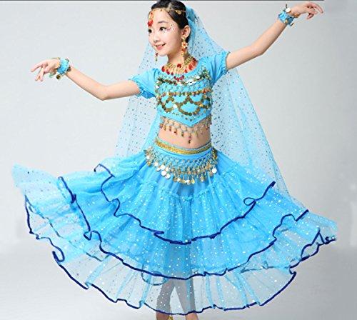 uchtanz Kostüme Mädchen Indischen Tanz Performance Kostüme Tutu Anzug Xinjiang Tanzkostüme,Blue,M (Machen Indische Kostüme)