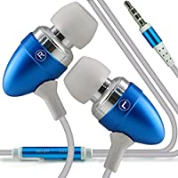 (Baby Blue) Bush E4X stylish Quality Aluminium In Ear Earbud Stereo Hands Headphones Ear phone Headset with Built in Micro phone Mic & On-Off by i -Tronixs