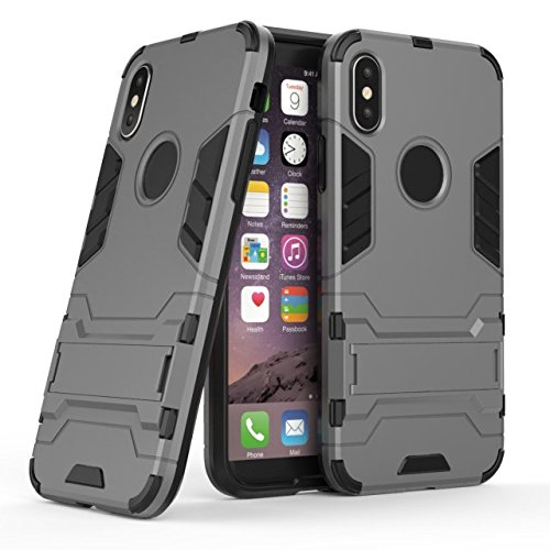 YHUISEN iPhone X Fall, 2 in 1 Eisen Rüstung Tough Style Hybrid Dual Layer Rüstung Defender PC + TPU Schutzhülle mit Stand Shockproof Case für iPhone X (2017) ( Color : Blue ) Gray
