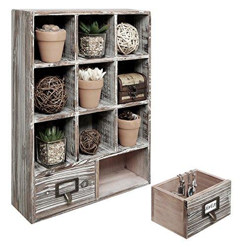 MyGift Country rustikal Holz Shadow Box/Wand montiert 9kleine Aufbewahrung Rack w/2Schubladen Organizer & Etikettenhalter