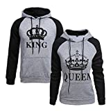 Tomwell King Queen Aufdruck Sweatshirt Pärchenpullover Set Hoodie mit Kaiserkrone Hoodie Damen Herren Kapuzenpullover mit Tasche B King Grau EU M