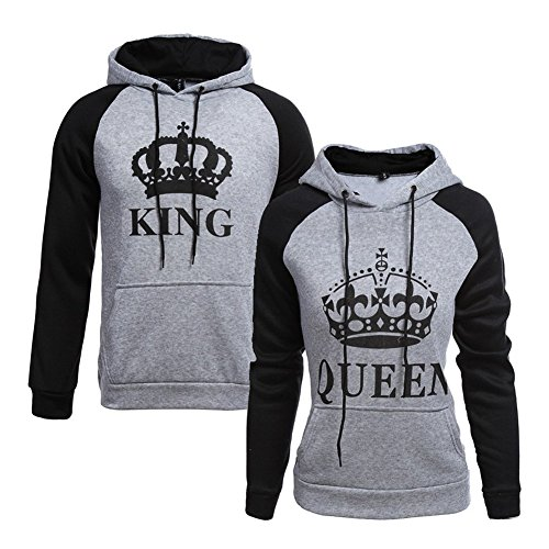 Tomwell King Queen Aufdruck Sweatshirt Pärchenpullover Set Hoodie mit Kaiserkrone Hoodie Damen Herren Kapuzenpullover mit Tasche B King Grau EU L (Top Leichte Zip)