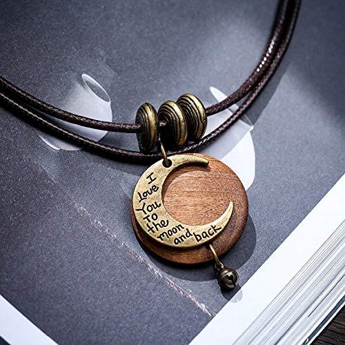 YANOAID Mond Ich Liebe Dich Bis Zum Mond Und Zurück Halsreifen Männer Frauen Halsketten Holz Schmuck Halskette