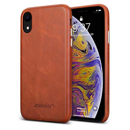 JISONCASE Handytasche für iPhone XR Ultra Slim Schutzhülle Verstärkter Kamera & Buttonschutz, Ultradünn Hülle aus Weiche Echtleder Case Cover - Braun - JS-IXR-01A20