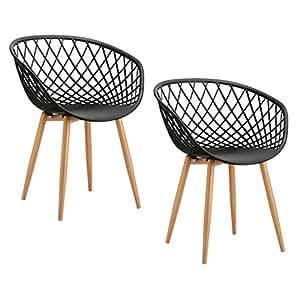 Tango lot de 2 fauteuils en m tal avec assise en pp noir for Chaise zons