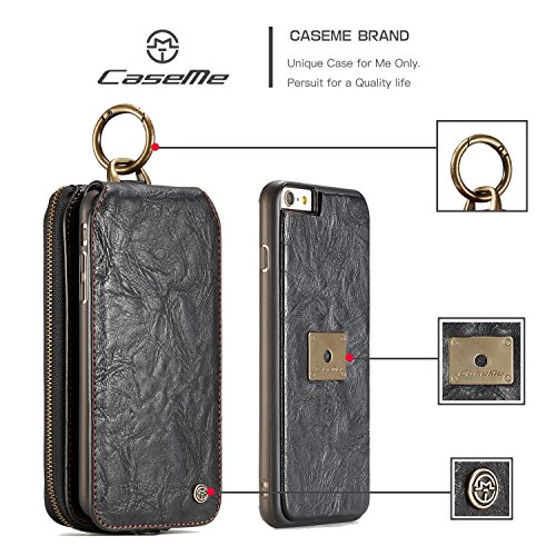 SDDMALL CaseMe Leder Geldbörse mit Magnetic PC + TPU Rückseitige Abdeckung, abnehmbare Folio, Bargeldhalter Zipper Design für iPhone 6S Plus ( Color : Black ) Black