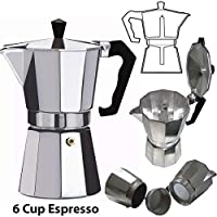 SMARTSTORE 6 Cup Italian ESPRESSO STOVE TOP COFFEE MAKER -Continental Percolator Pot Jug, Camping, Caravan, Brewing Rich Coffee