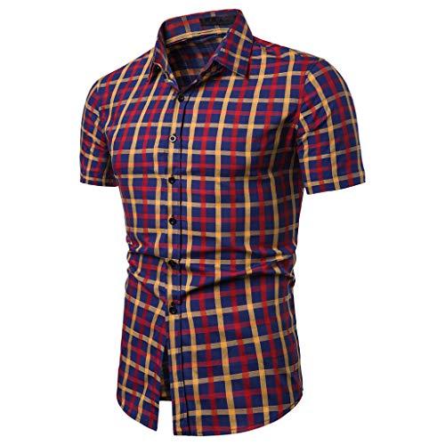 sunnymi  Herren T-Shirt, Gitter Spleißen Muster Lässige Mode Revers Kurzarm Shirt - Blatt Camouflage Königin