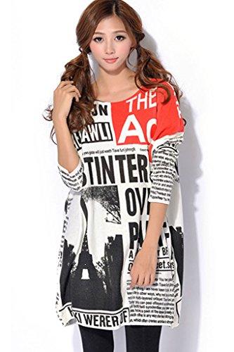 Minetom Femme Crew Col Pull Robe Tricote Chandail Lâche Manteau Longue Sweatshirt Blouse Chemisier Imprimé Journal Retro Style Blanc