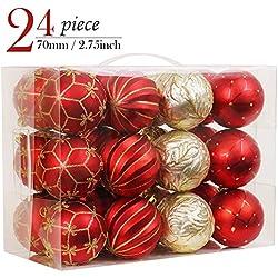 Valery Madelyn 24Pcs Bolas de Navidad de 7cm, Adornos de Navidad para Arbol, Decoración de Bolas Navideños Inastillable Plástico de Rojo y Dorado, Regalos de Colgantes de Navidad
