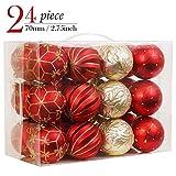 Valery Madelyn 24Piezas Bolas de Navidad Rojas y Doradas, 70mm Bolas Mates Cada con Pintura Dorada y Diseño de Relieve de Superficie Adornos Navideños para Árbol con Cadena Pre-Atados