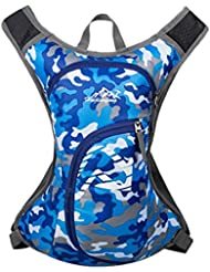 MagiDeal Mochila de Ciclismo de Deportes Accesorio de Camping de Correr Bolsa Impermeable de Multifunción con 2 Correas de Hombro - Camuflaje Azul