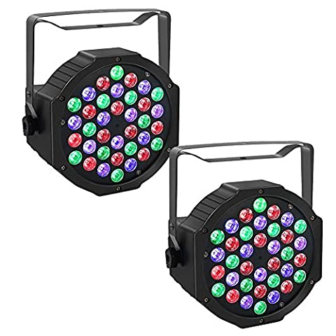 YUEYANG LED RGB PAR Light 36 LEDs DMX536 Color Mixing Wash Can Stage Light, Disco DJ Wedding Party Show Live Concert Lighting (2 PCS)